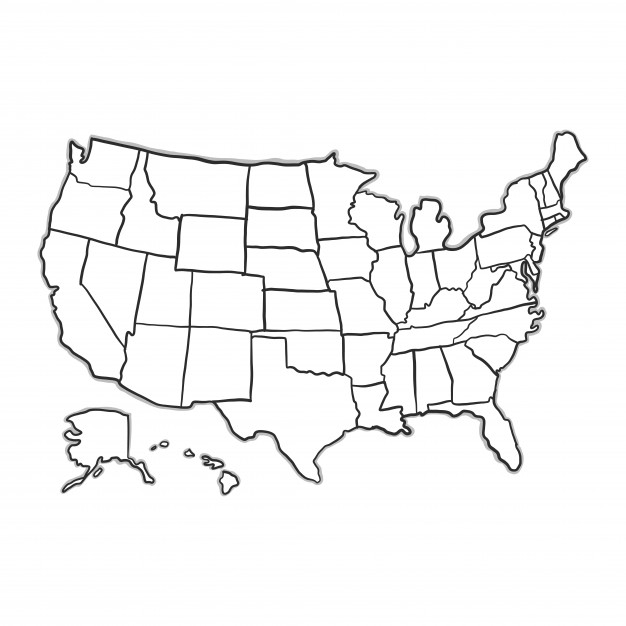 626x626 Us Map White Doodle Usa Map Vector Free Download 626 X 626 Pixels