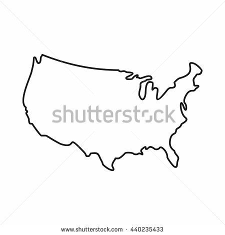 450x470 Stock Vector Usa Map Icon Outline Style United States Outline