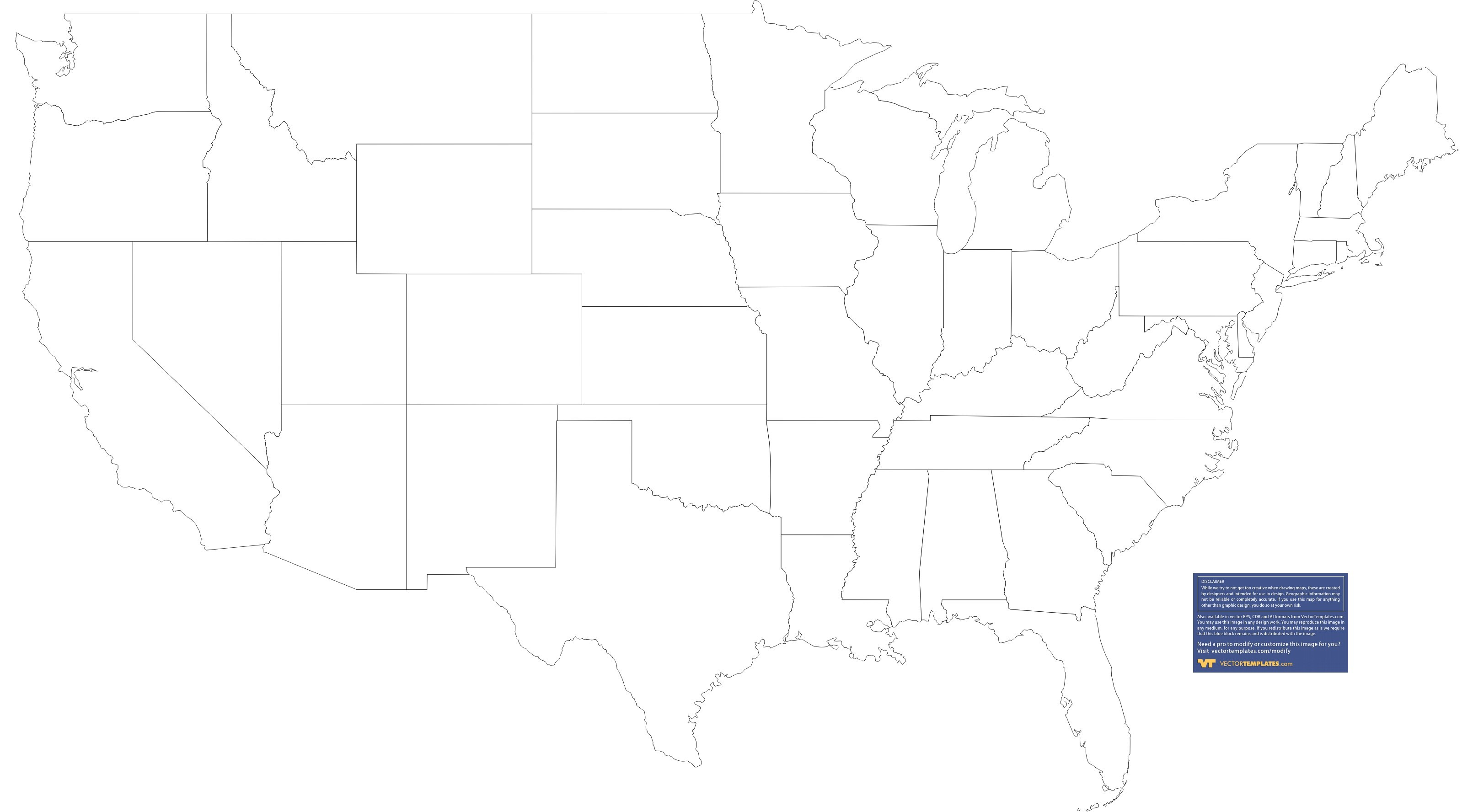 Blank Us Map With State Outlines on