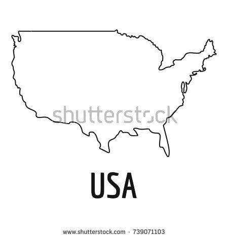 450x470 United States Map Outline Vector United States Map Vector Clip Art