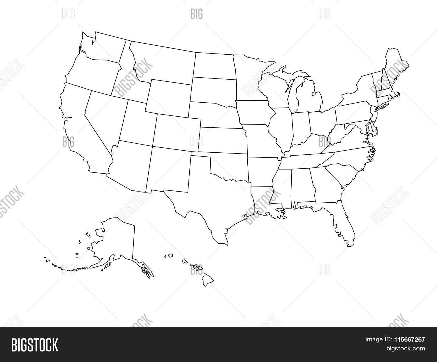 1500x1245 Blank Outline Map Usa Vector Photo Bigstock Showy Of Usa Black And