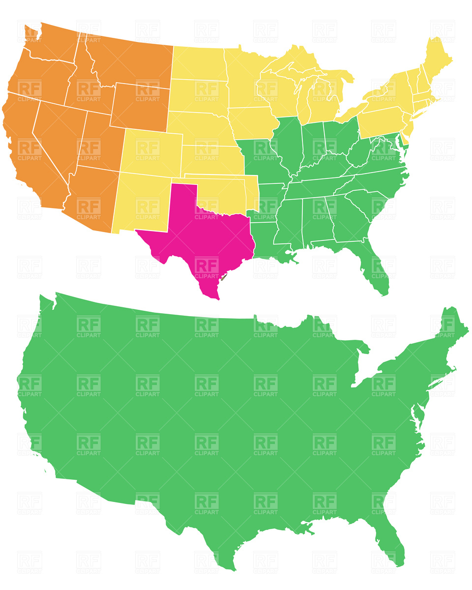 960x1200 Map Of The Usa Clipart Vector