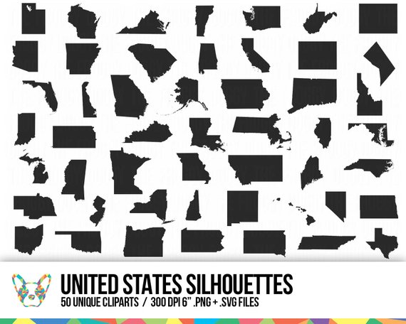 570x456 United States Clipart Collection State Shapes Vector Map Etsy