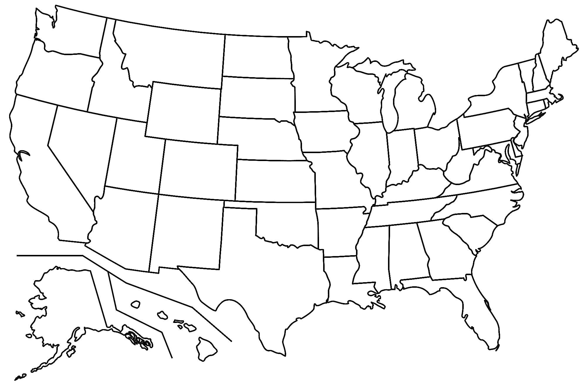 2000x1333 Vector Graphics Us Map Blank Usa Outline Map United States 259651