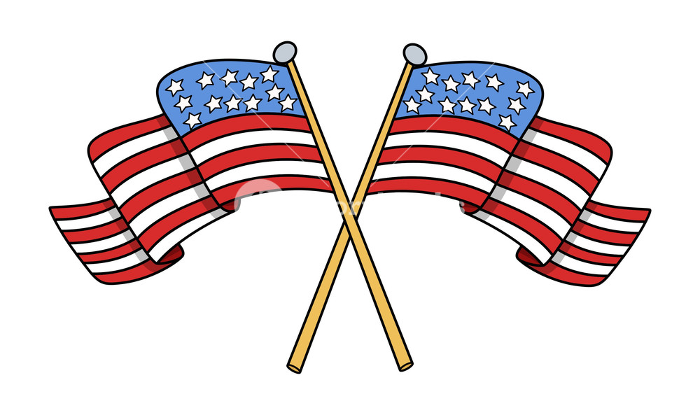 1000x593 Crossed Flags Of Usa Vector Royalty Free Stock Image