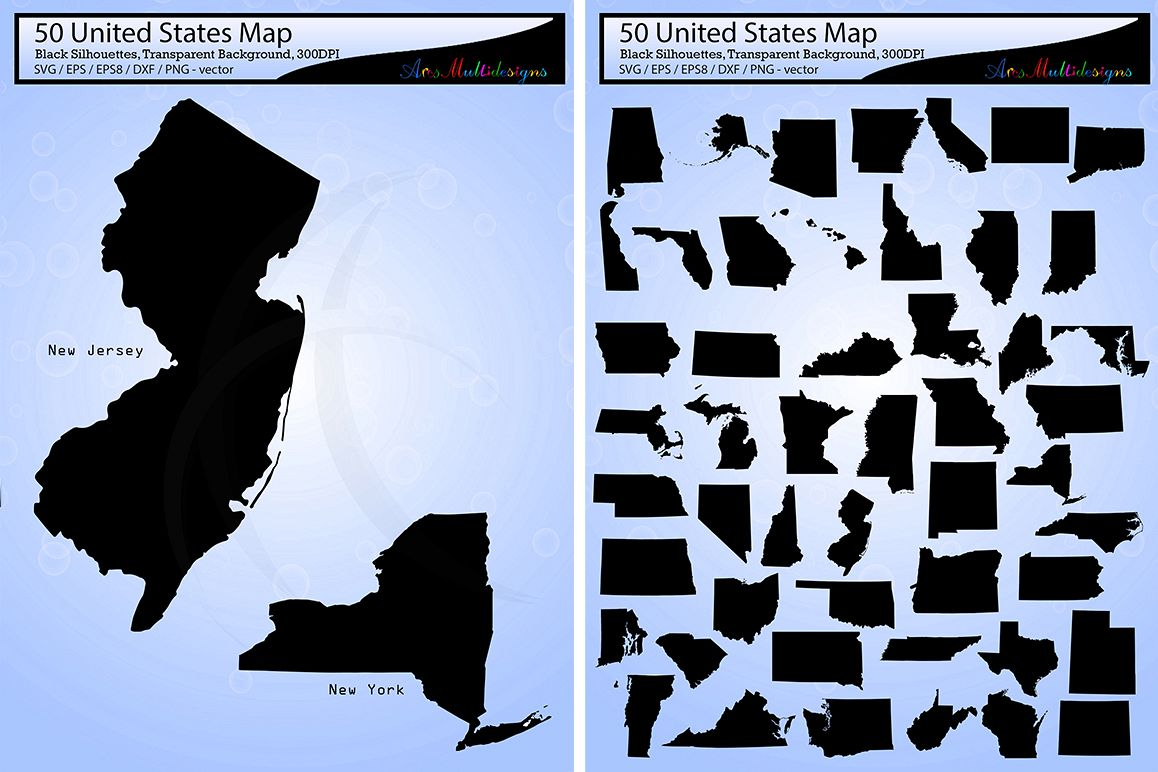 1158x772 United States Map Vector 50 Usa Map Silhouette Svg Eps Png