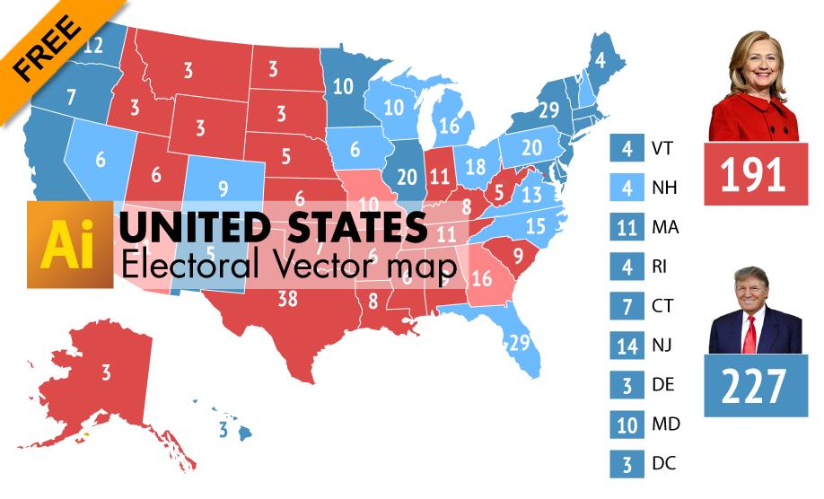 918x556 Free Editable Electoral Vector Map Of Usa