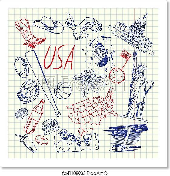 561x581 Free Art Print Of Usa Symbols Pen Drawn Doodles Vector Collection