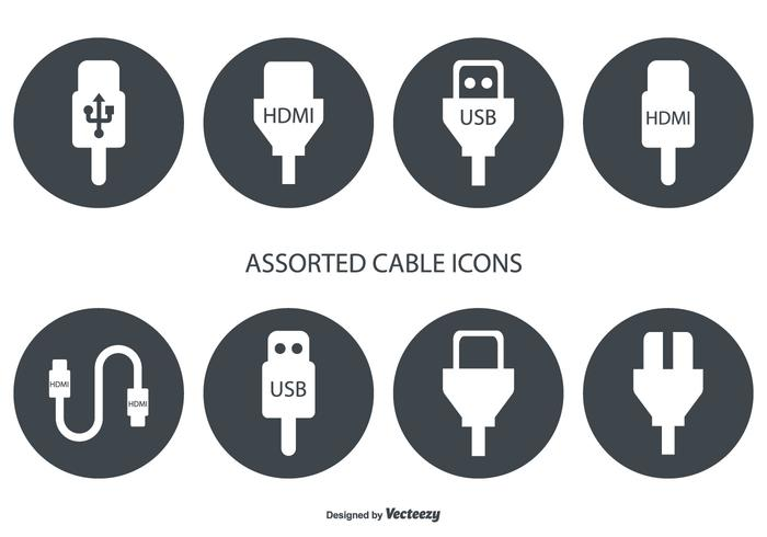 700x490 Assorted Hdmi And Usb Cable Vector Icons
