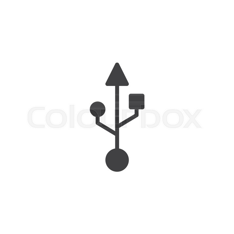 800x800 Usb Connection Icon Vector, Filled Flat Sign, Solid Pictogram