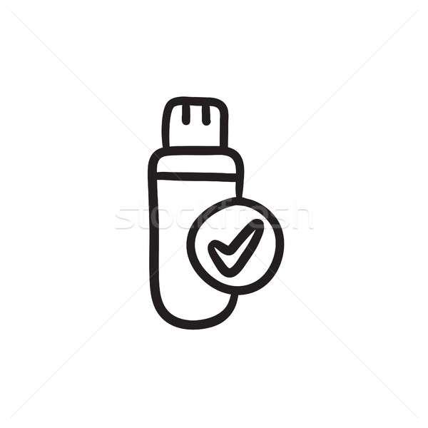 600x600 Usb Flash Drive Sketch Icon. Vector Illustration Andrei Krauchuk