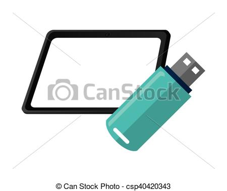 450x379 Flat Design Tablet And Usb Drive Icon Vector Illustration.