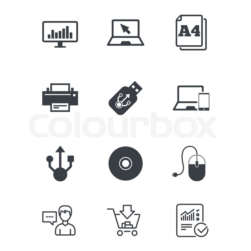 800x800 Computer Devices Icons. Printer, Laptop Signs. Smartphone, Monitor