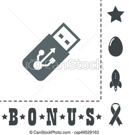 450x470 Vector Usb Flash Drive Icon On A Grey Flat Button. Usb Flash Drive