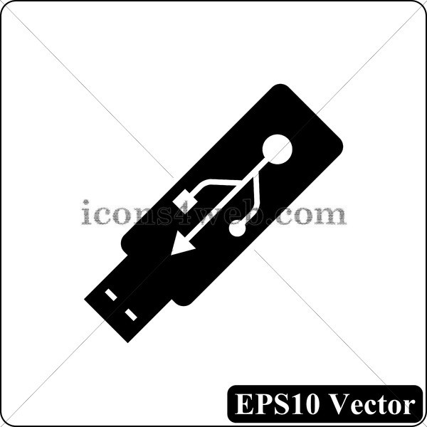 600x600 Usb Flash Drive Vector Icon. Usb Flash Drive Vector Button. Eps10
