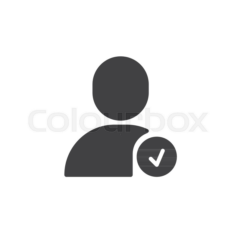 800x800 Confirm User Icon Vector, Filled Flat Sign, Solid Pictogram