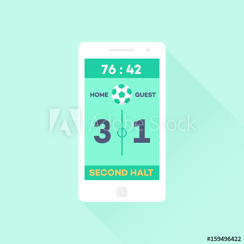 500x500 Smartphone Scoreboard Application Flat Design User Interface