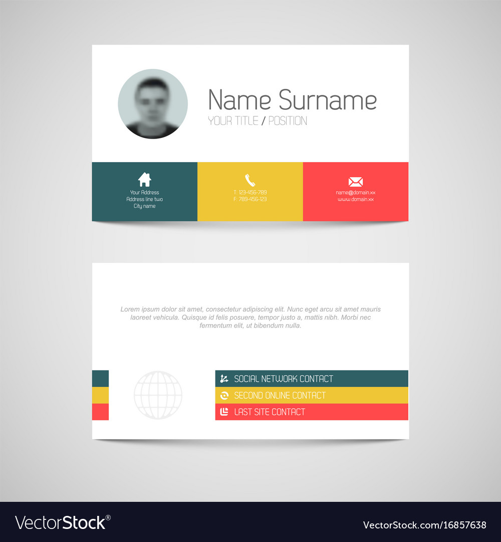 1000x1080 Modern Business Card Template With Flat User Vector 16857638
