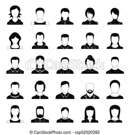 450x470 Avatar User Icon Set, Simple Style. Avatar User Icon Set. Simple