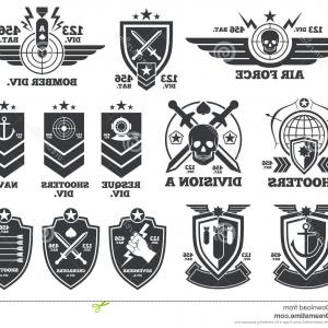 300x300 Spectacular Military Logos Vector Vintage Labels And Patches Stock