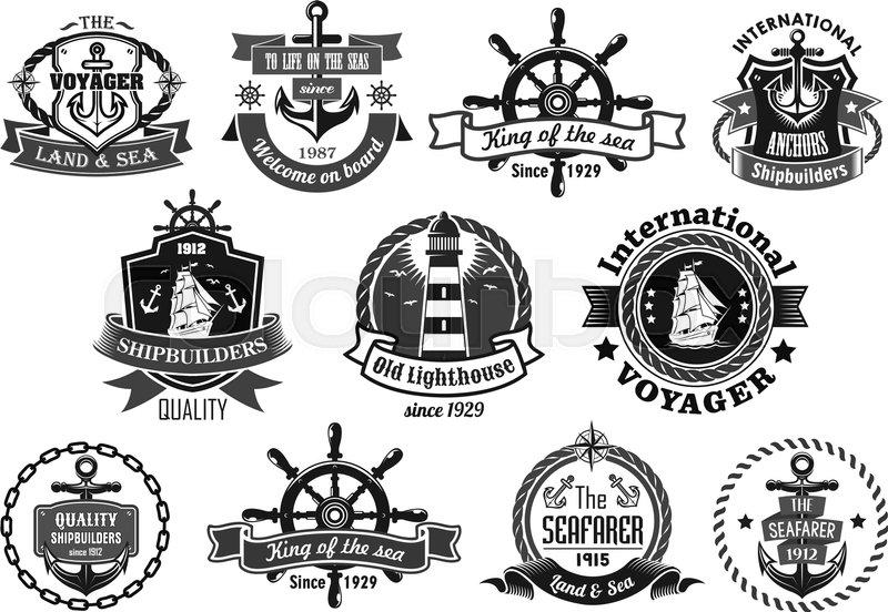 800x552 Nautical Heraldic Emblem Set. Marine Anchor, Helm, Sailing Ship