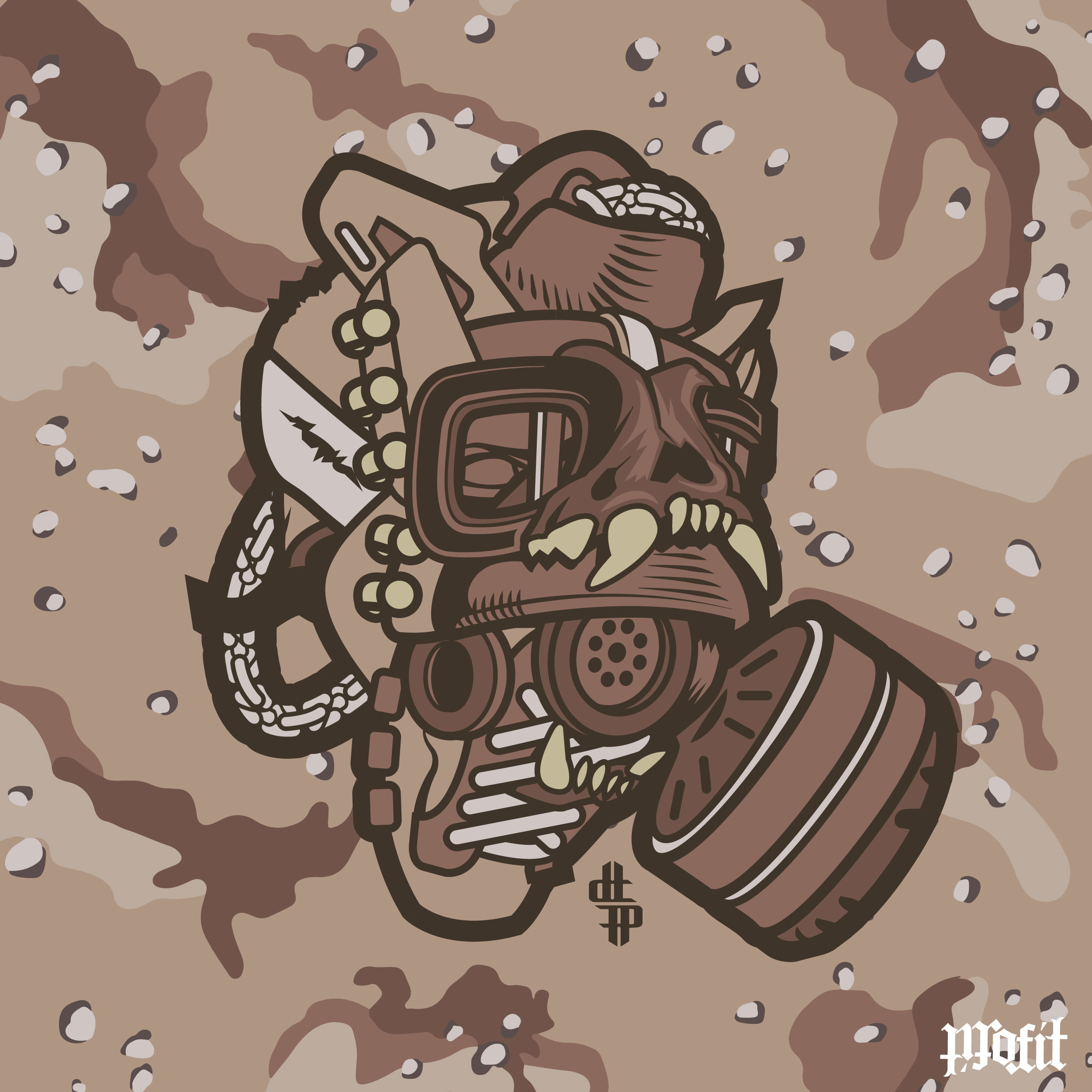 2500x2500 Daily Creation Usmc Combat Book Gas Mask Vector Illustration