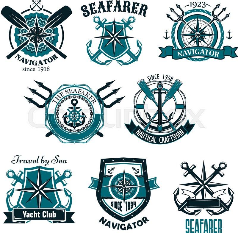 800x783 Heraldic Marine And Nautical Vector Icons Set. Symbols And Badges