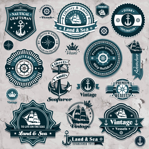 500x500 Marine Labels And Decor Vector Collection 04 Free Download