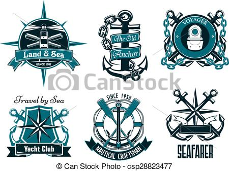 450x337 Retro Marine And Nautical Heraldic Emblems. Retro Nautical