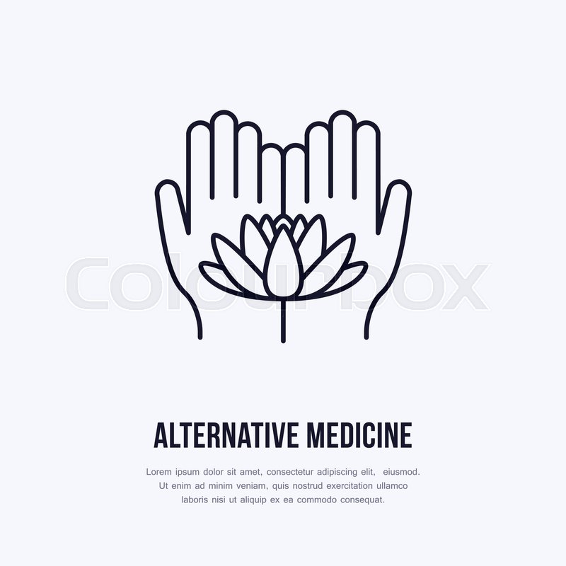 800x800 Alternative Medicine Flat Line Icon, Logo. Vector Illustration Of