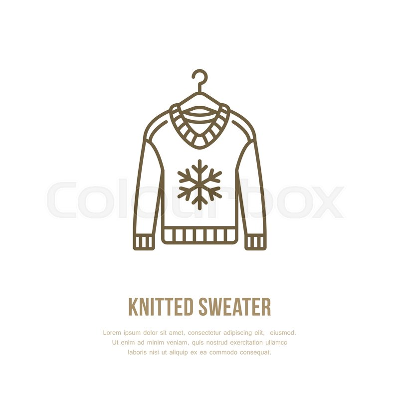 800x800 Illustration Of Woolen Sweater. Knitted Clothing Shop Line Logo