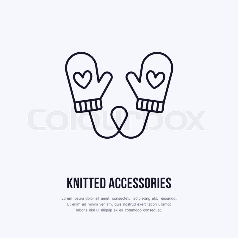 800x800 Illustration Of Woolen Mittens. Knitted Clothing Shop Line Logo
