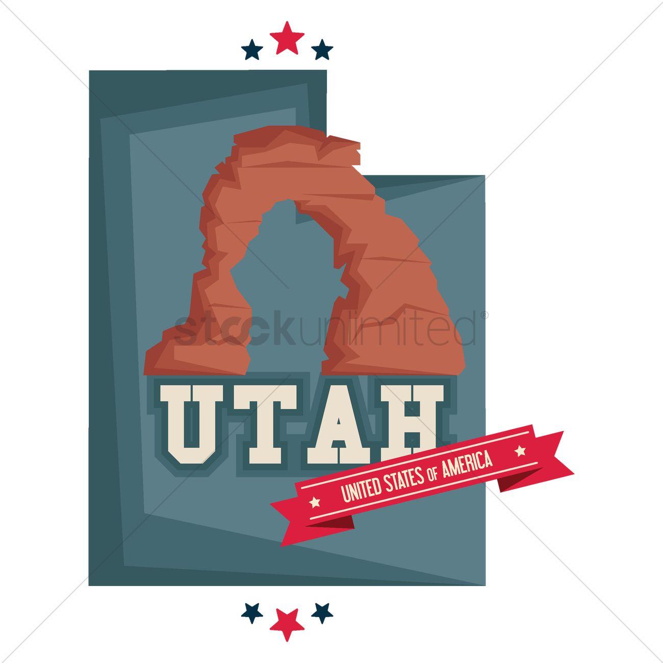 1300x1300 Utah Map With Rock Formation Utah Vector Image