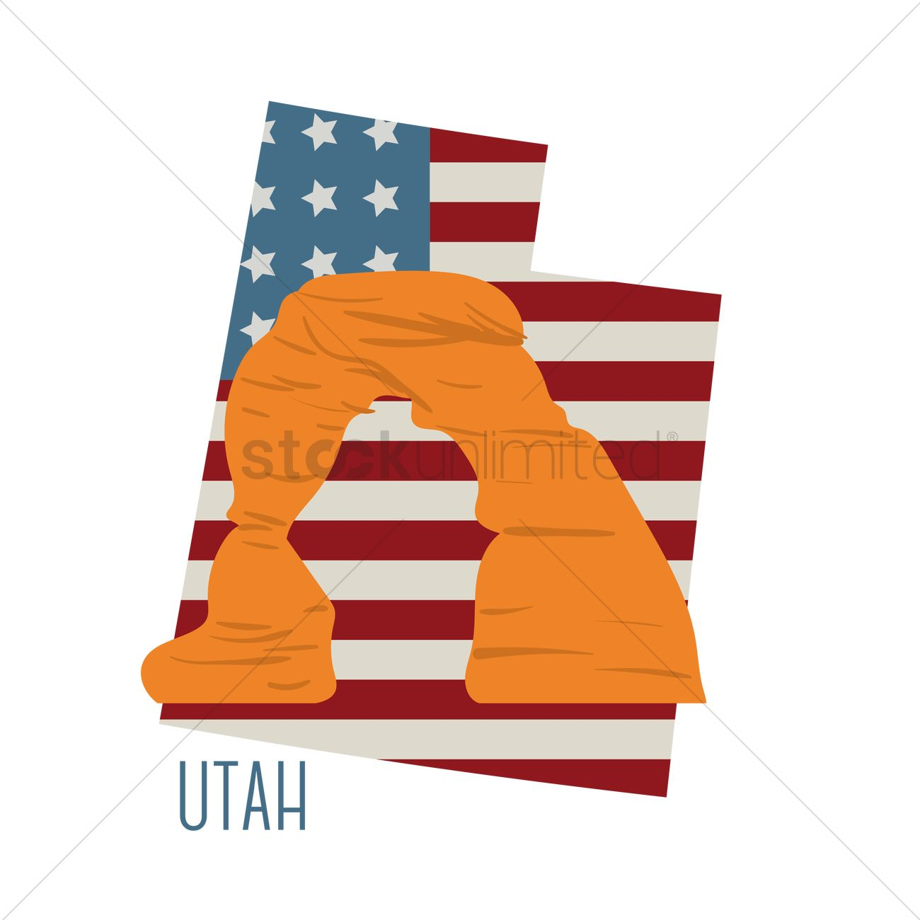 1300x1300 Utah State Map With Delicate Arch Vector Image