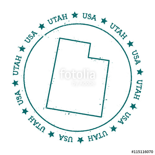 500x500 Utah Vector Map. Retro Vintage Insignia With Us State Map