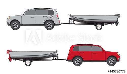 500x292 Sport Utility Vehicle In Two Different Color Schemes Is Towing A