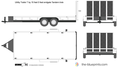 400x229 Utility Trailer 7 By 15 Feet 5 Feet Endgate Tandem Axle Vector Drawing