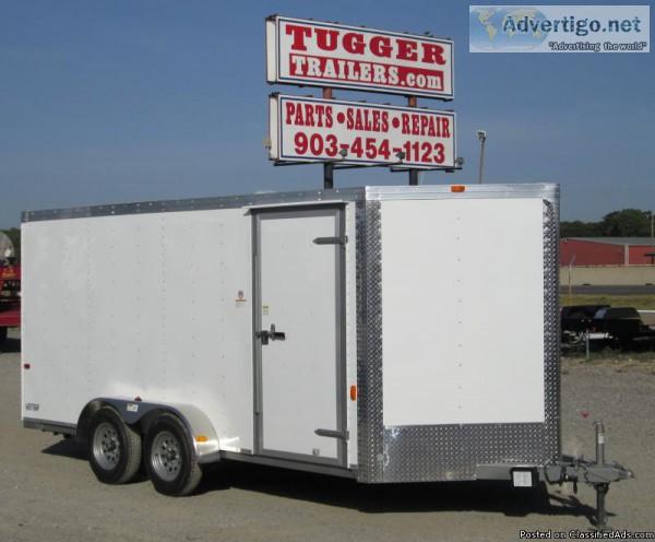 600x496 7x16 Cargo Craft Tandem Vector White Enclosed Trailer