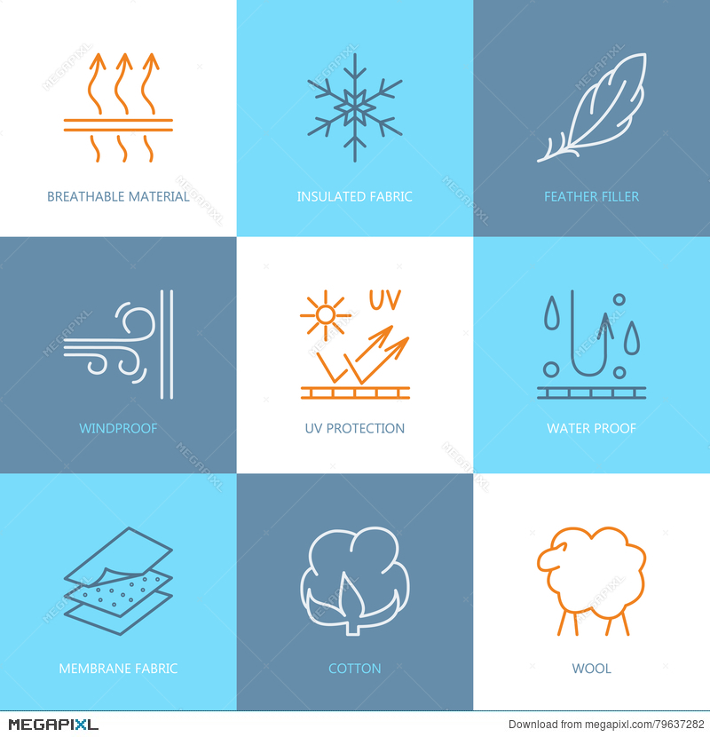 800x830 Vector Line Icons Of Fabric Feature, Garments Property Symbols