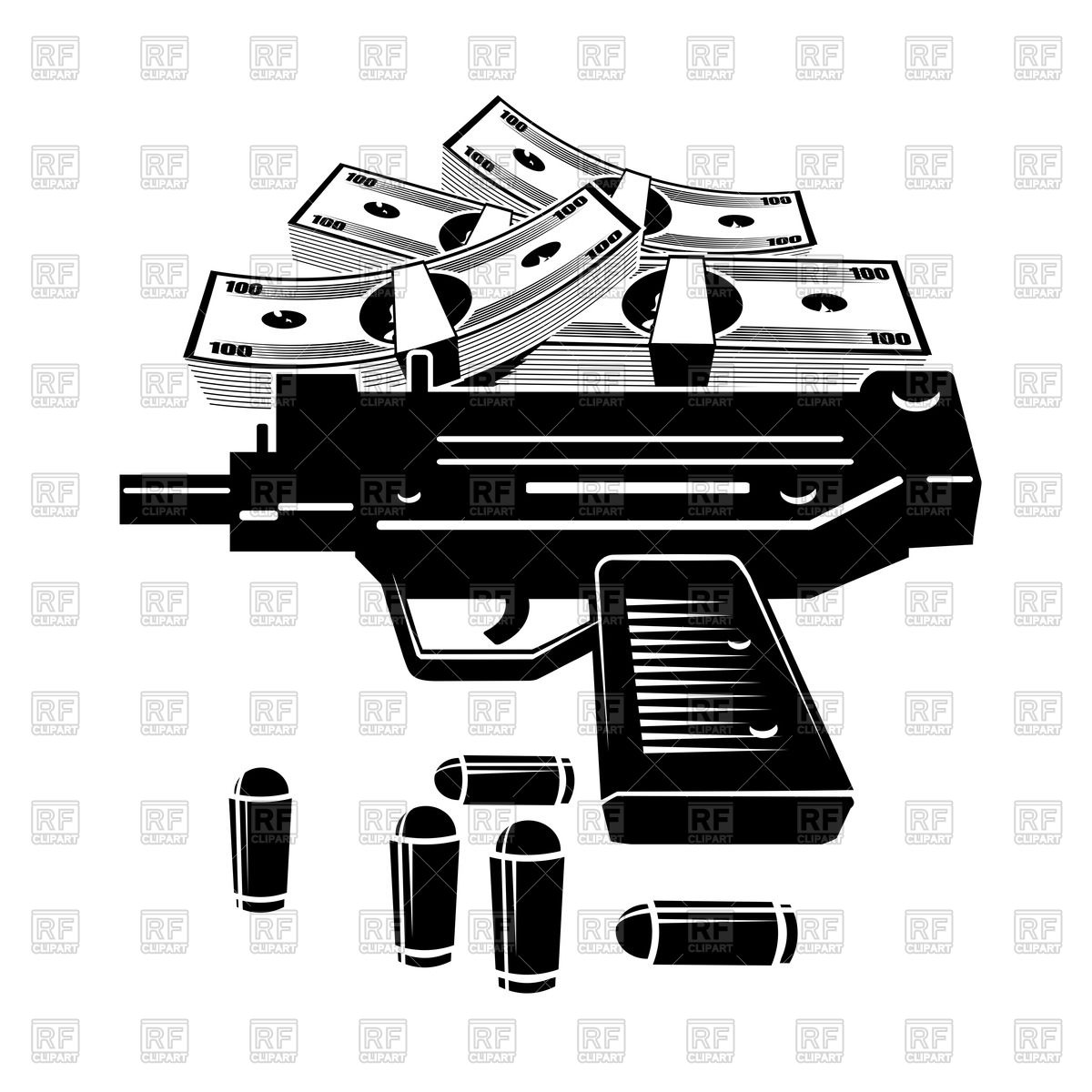1200x1200 Uzi Pistol, Bullets And Pile Of Money Vector Image Vector