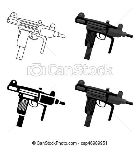 450x470 Uzi Weapon Icon Cartoon. Single Weapon Icon From The Big