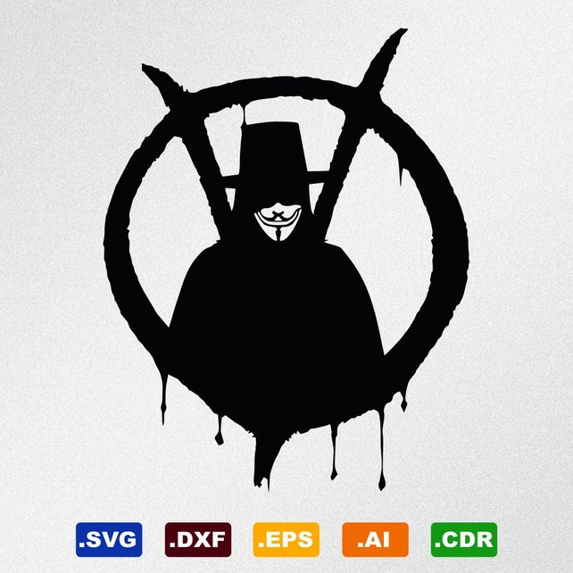 642x642 V For Vendetta Anonymous Guy Fawkes Mask Svg Dxf Eps Ai Etsy