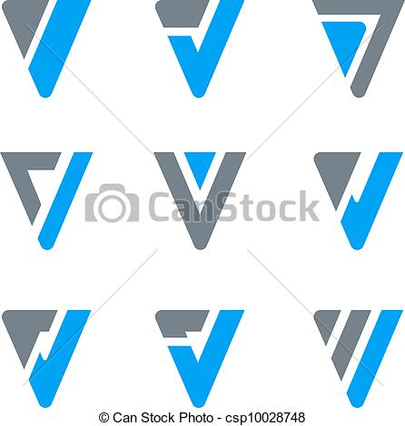 446x470 Logo Corporate Amp Luxury. Abstract Business Icon Set. V, W