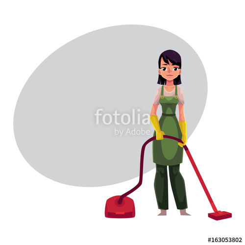 500x500 Cleaning Service Girl, Charwoman In Overalls Standing With Vacuum