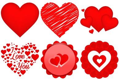 390x260 Free Vector Valentine Heart Iconset (9 Icons) Designbolts