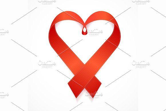 580x386 Red Valentine Heart. Vector Valentine Heart Love Day Ribbon