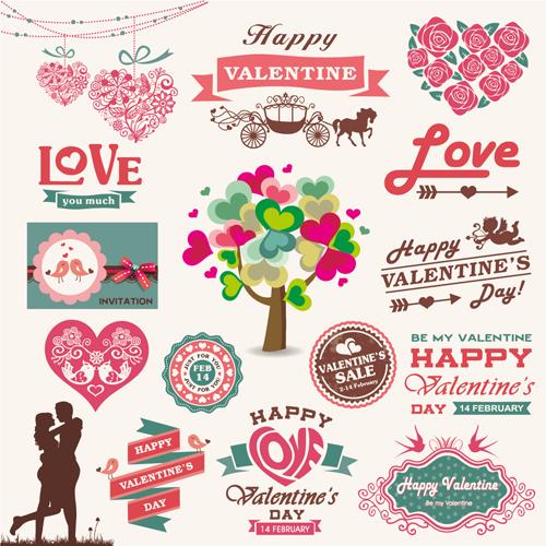 500x500 Romantic Valentine Retro Labels And Decor Vector 02 Free Download