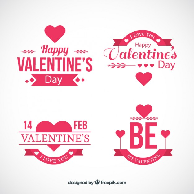 626x626 Flat Badges For Valentine Day Vector Free Download