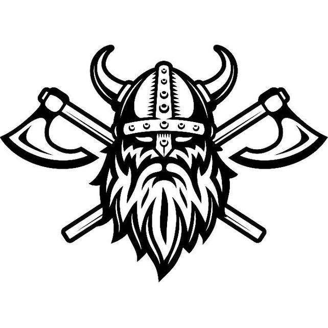 642x642 Viking Logo 5 Skull Helmet Horns Axes Ship Warrior Barbarian Etsy