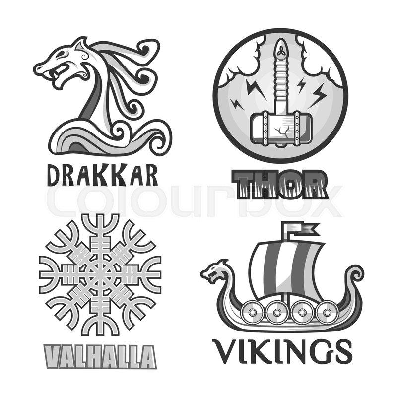 800x800 Viking Warriors Logo Set. Vector Isolated Symbols Of Thor Hammer